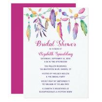 Boho Bridal Shower Feather Indian Purple Southwest Invitation