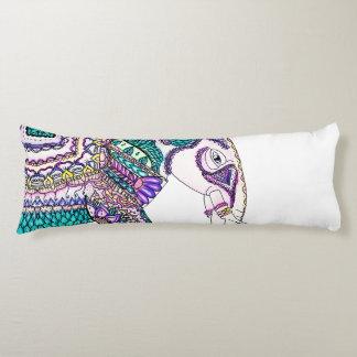Boho bright watercolor tribal henna elephant body pillow