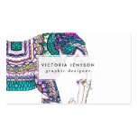 Boho bright watercolor tribal henna elephant Double-Sided standard business cards (Pack of 100)