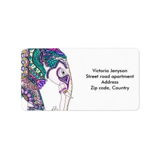 Boho bright watercolor tribal henna elephant label