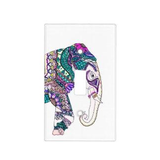 Boho bright watercolor tribal henna elephant light switch cover