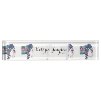 Boho bright watercolor tribal henna elephant name plate