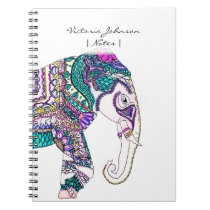 Boho bright watercolor tribal henna elephant notebook