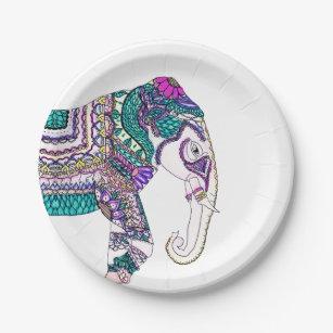 Boho bright watercolor tribal henna elephant paper plate  sc 1 st  Zazzle & Paisley Plates | Zazzle