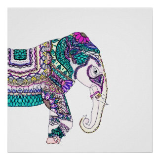 Boho bright watercolor tribal henna elephant poster