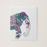 Boho bright watercolor tribal henna elephant puzzle