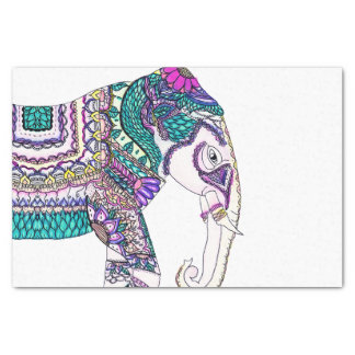 Boho bright watercolor tribal henna elephant tissue paper