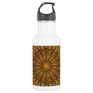 Boho Brown and Gold Mandala (rect.) Water Bottle