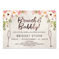 Boho Brunch Bubbly Bridal Shower Invitation