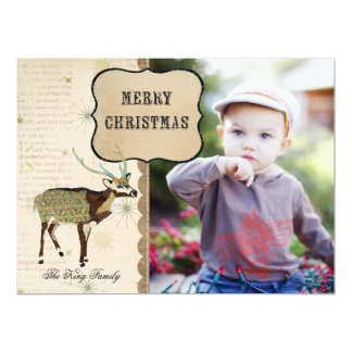 "Boho Buck Snowflake Christmas Photo Card 6.5"" X 8.75"" Invitation Card"