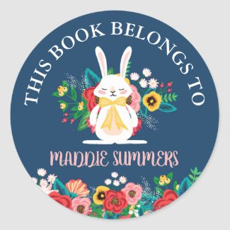 Boho Bunny | Floral This Book Belongs To Classic Round Sticker