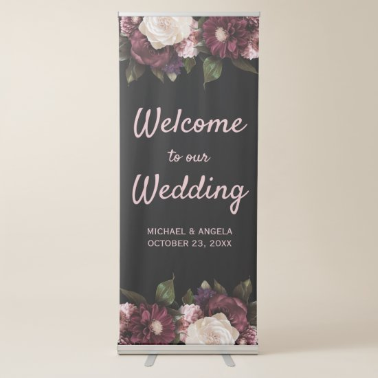 Boho Burgundy and Blush Pink Watercolor Floral Retractable Banner