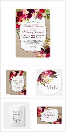 Boho Burgundy Floral Wedding Collection 3979