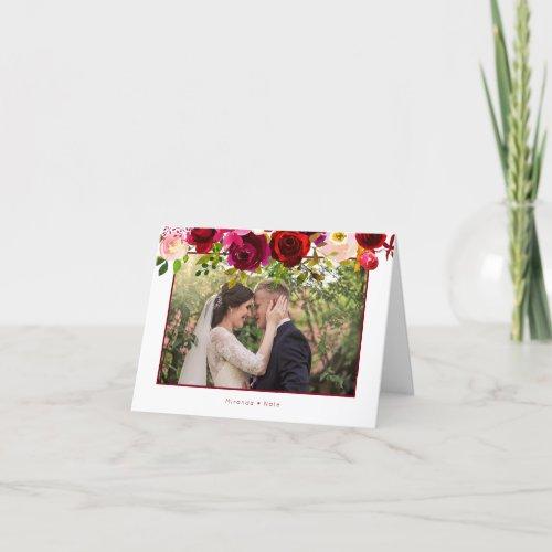 Boho burgundy floral wedding photo thank you