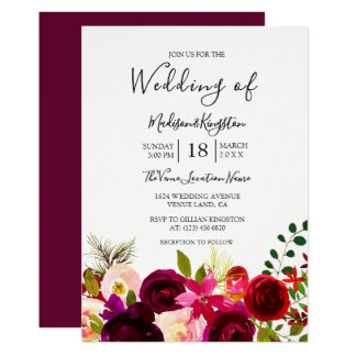 Boho Burgundy Flowers Spring Autumn Wedding Invite
