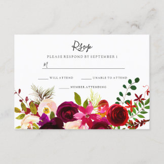 Boho Burgundy Flowers Spring Autumn Wedding RSVP