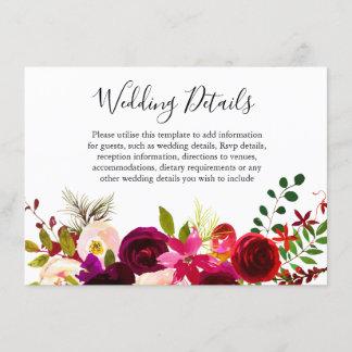Boho Burgundy Flowers Spring Fall Wedding Details Enclosure Card