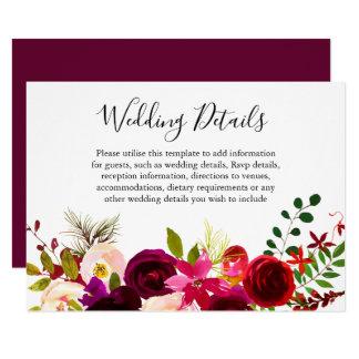 Boho Burgundy Flowers Spring Fall Wedding Details Invitation
