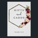"""Boho Burgundy Gifts and Cards Sign<br><div class=""""desc"""">Help your guests easily find the gift table with this lovely sign!</div>"""