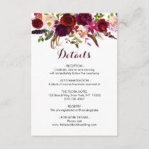 Boho Burgundy Marsala Floral Wedding Details Info Enclosure Card