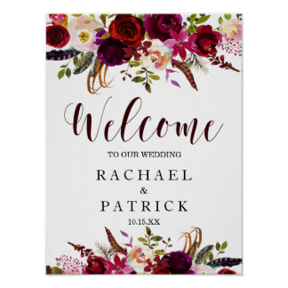 Boho Burgundy Marsala Floral Welcome Wedding Sign