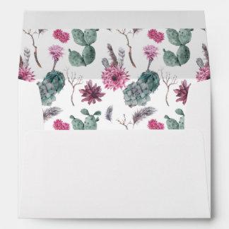 Boho Cactus, Succulent & Floral -  Wedding Envelope