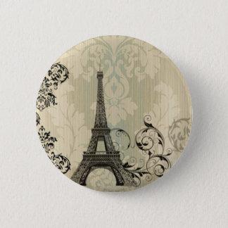 Boho Chic beige Damask Paris Eiffel Tower Button