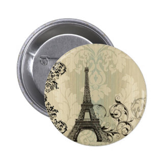Boho Chic beige Damask Paris Eiffel Tower Button