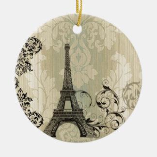 Boho Chic beige Damask Paris Eiffel Tower Ceramic Ornament