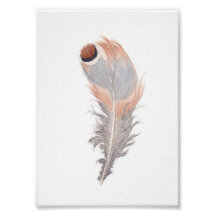 Boho chic bird feather watercolor painting print