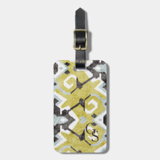 Boho chic black and yellow ikat tribal pattern luggage tag