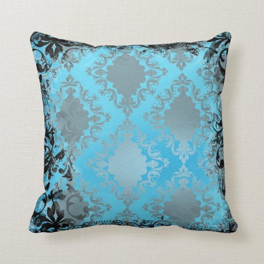 Vintage Blue Throw Pillows : Boho Chic Blue and Black Vintage Throw Pillow Zazzle.com