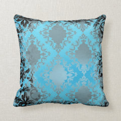 Boho Chic Blue and Black Vintage Throw Pillow Pillows