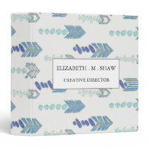 boho chic blue arrows native pattern binder