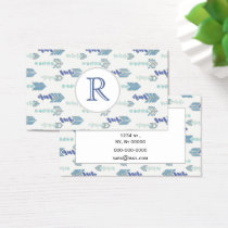 boho chic blue arrows native pattern business card