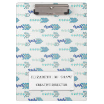 boho chic blue arrows native pattern clipboard