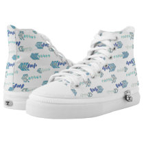 boho chic blue arrows native pattern High-Top sneakers