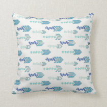 boho chic blue arrows native pattern throw pillow