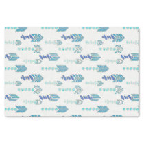 boho chic blue arrows native pattern tissue paper