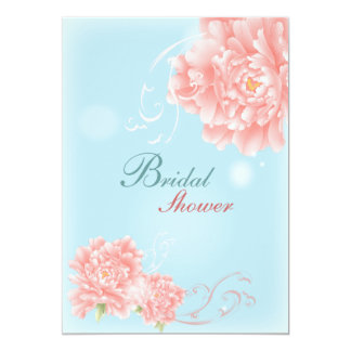 boho chic blue pink watercolor floral peony card