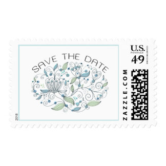 Boho Chic Blue with Green Save the Date Postage