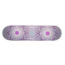Boho chic Bohemian lilac purple mandala Skateboard