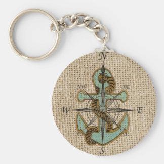 boho chic burlap nautical compass Blue anchor Keychain
