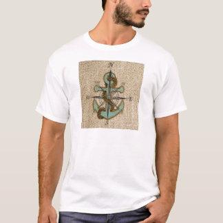 boho chic burlap nautical compass Blue anchor T-Shirt