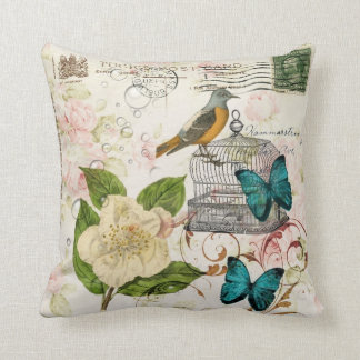 boho chic butterfly botanical birdcage french bird throw pillow