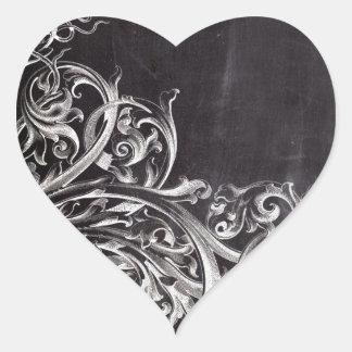boho chic chalkboard art rustic swirls heart sticker