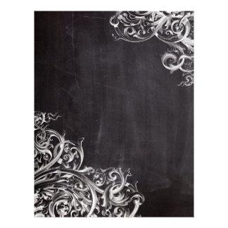 boho chic chalkboard art rustic swirls letterhead