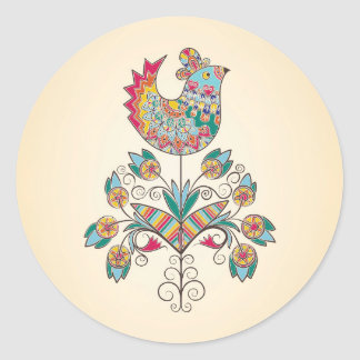 Boho-chic chick on flower classic round sticker