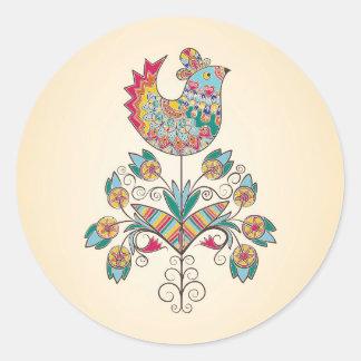 Boho-chic chick on flower classic round sticker