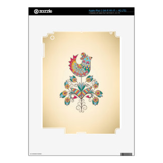 Boho-chic chick on flower decal for iPad 3